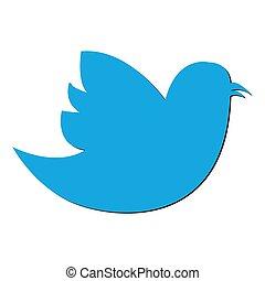Social Bird icon on background. Modern flat pictogram,...