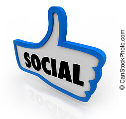 Social Blue Thumb's Up Symbol Network Communication