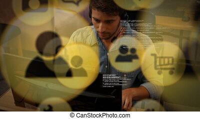 social, bureau, fonctionnement, animation, homme, sur, seul...