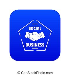 Social business icon blue