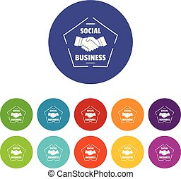 Social business icons set vector color