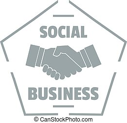 Social business logo, simple gray style