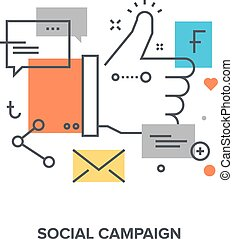 social campaign concept - Vector illustration of social ...