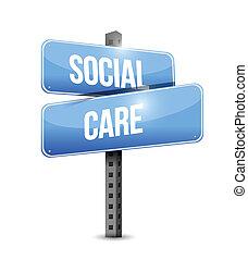social care road sign illustration design