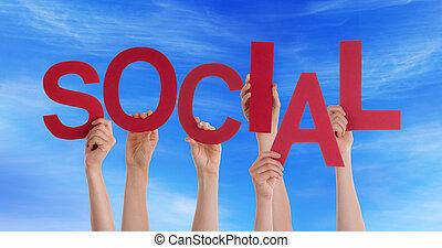 social, ciel, tenant mains