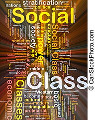 Social class background concept glowing