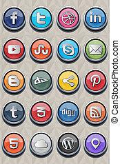 social, classique, icône, v2.0, 20