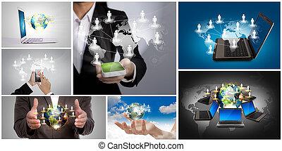 social, collection, concept, gestion réseau