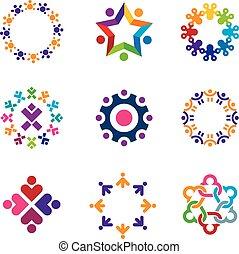 Social colorful world community peo