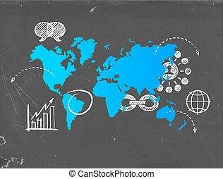 social, comércio mídia, mapa mundial, modelo, conceito
