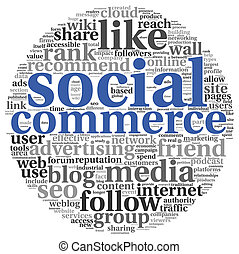 Social commerce concept in word tag cloud