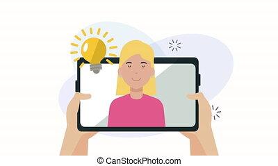 social, commercialisation, tablette, média, homme, animation