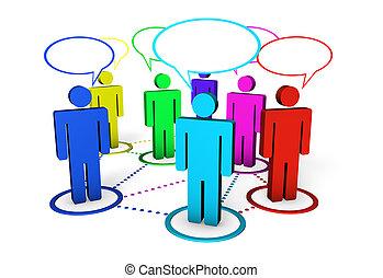 social, conceito, networking, comunidade, internet