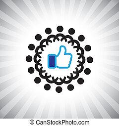 social, concept, aimer, amis, &, gens, média, gens., équipe, ensemble, icons(symbol), main, etc, parents, vecteur, illustration, graphic-, utilisation, cercle, connecting(networking), spectacles
