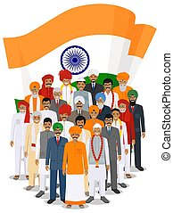 Social concept. Group indian adult and senior people standing together in different traditional national clothes on background with flag in flat style. Vector illustration.