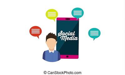 social, concept, média