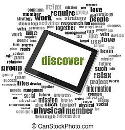 social, concept., mot, découvrir, ., mot, collage, à, pc tablette