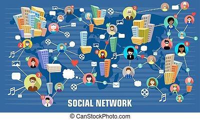 social, concept, réseau