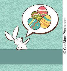 social, conejito de pascua, con, huevo pintado