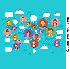 social, conexión, en, mapa del mundo, con, gente, iconos
