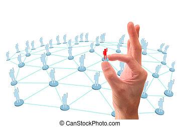 social, conexión, mano, red, punto