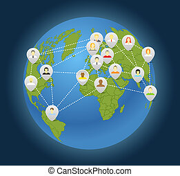 Social connection abstract scheme on globe