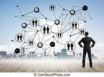 Social connection concept drawn on screen as symbol for teamwork and cooperation