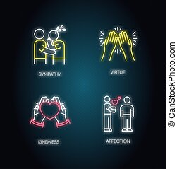 Social connection neon light icons set. Signs with outer ...