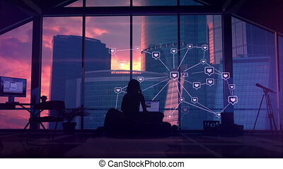 Silhouette of a specialist in social networks working in his office against the background of infographics and skyscrapers outside the window.