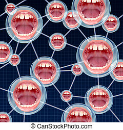 Social Connections communication concept as a group network on the internet with connected bubbles as human mouths inside as a symbol of talking and sharing information.