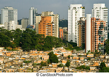 Social Contrast - Picture of a favela in the Morumbi...