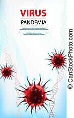 social, coronavirus, virus, medios, ilustración, bandera, ...