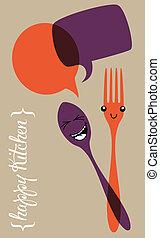 social, cuisine, illustration, heureux