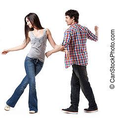 Social dance West Coast Swing. A demonstration pose.