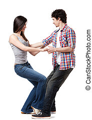 Social dance West Coast Swing. Demonstration of a leverage extension pose.
