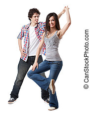 Social dance West Coast Swing. Demonstration of a spin pose.
