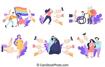 Discrimination in society, people surrounded by hands with index fingers pointing, isolated icons vector. Public disapproval concept, social intolerance. Accusation, censure and victim blaming