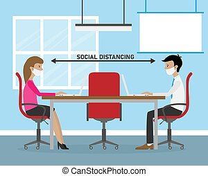 Social distance in the work office. Man and woman working on laptop. Vector