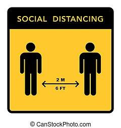 Social distancing banner. Keep the 2 meter distance. Coronovirus epidemic protective. Vector illustration