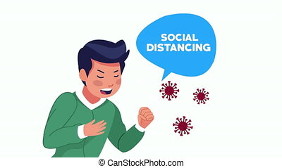social distancing campaign with man sick ,4k video animated