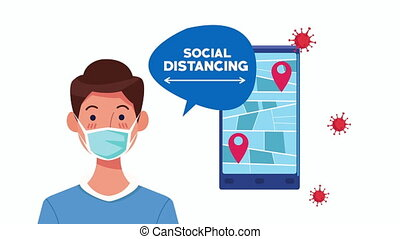 social distancing campaign with man using face mask and smartphone