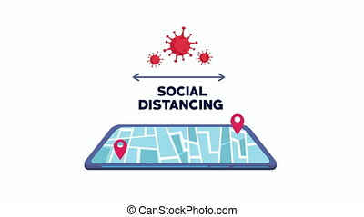 social distancing campaign with ,4k video animated