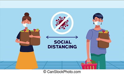 social distancing campaign with supermarket customers ,4k video animated