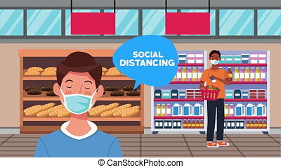 social distancing campaign with supermarket male customers ,4k video animated
