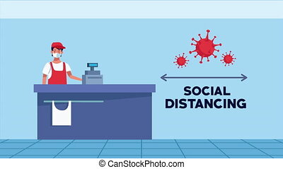 social distancing campaign with supermarket scene ,4k video animated