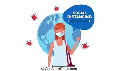 social distancing campaign with woman using face mask and earth planet