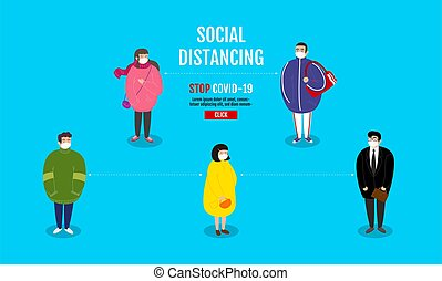 Social Distancing concept , People keeping distance for infection risk and disease, wearing a surgical protective Medical mask for prevent virus Covid-19 (Coronavirus). Cartoon Character.