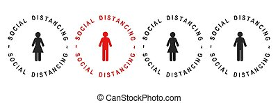 Social distancing concept with text showing safe distance