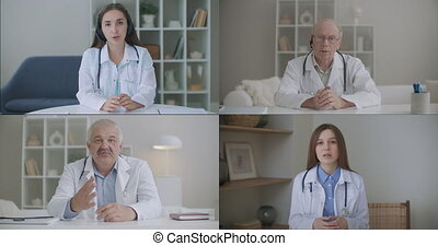 social distancing doctor makes a video call conference with ...