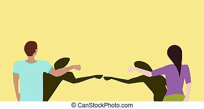 Social distancing greeting concept vector where two people fist bump at a distance but their shadows touch to prevent spread of COVID-19 coronavirus pandemic